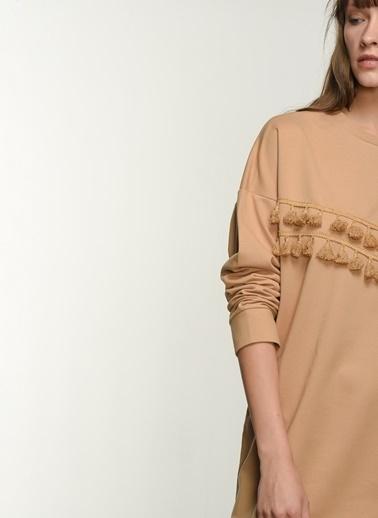 NGSTYLE NGKAW21EL0024 Püsküllü Sweat Elbise Camel